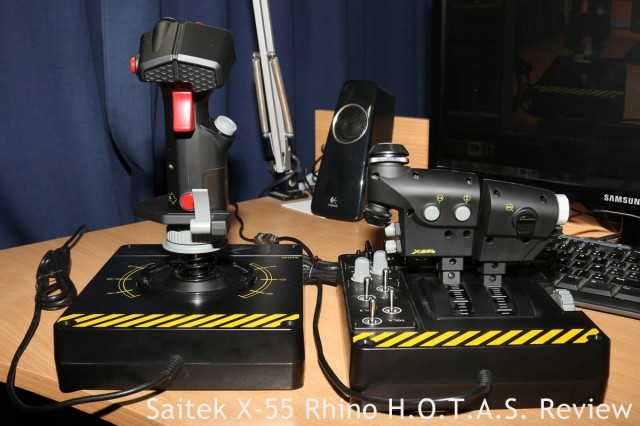 Front view of the X-55 Rhino. Note the buttons on both stick and throttle.