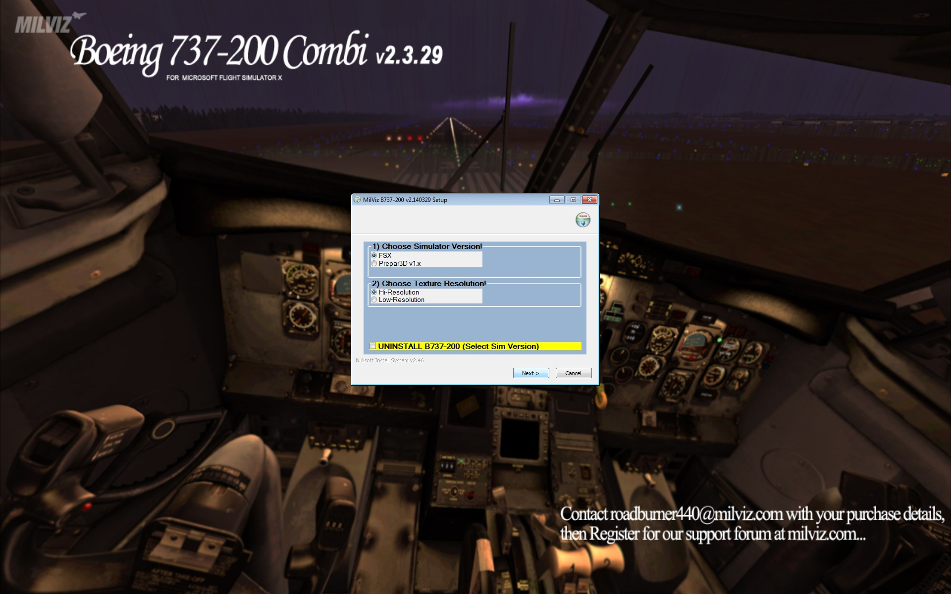 Review of MILVIZ – BOEING 737-200C for FSX/P3Dv1
