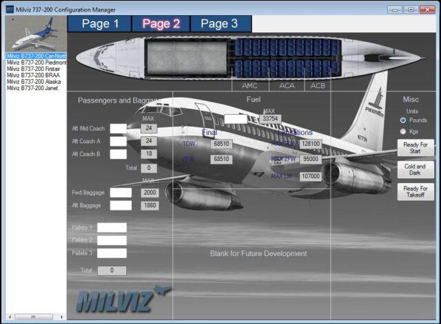 Milviz 737-200 configuration manager page 2