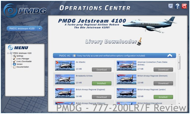 Note that the livery downloader now also works for the J41 and 737 NGX, if you have these products installed.