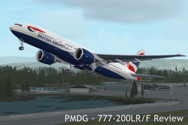 The fictional British Airways 777-200LR shortly after takeoff.