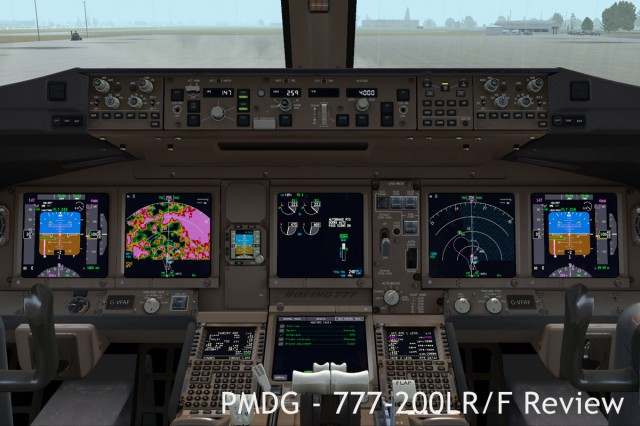 The 777 cockpit during some random test flight around my home airport. Note the weather radar on the left, the terrain displaying water on the left, and the electronic checklist on the lower EICAS display.