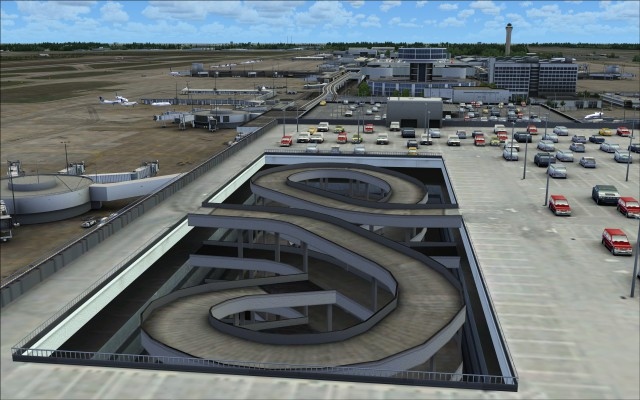 Circular ramps to parking garage levels