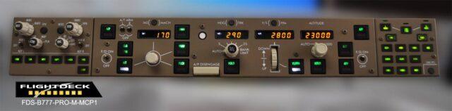 Flightdeck Solutions制作了很多飞机的硬件面板模拟,质量和真实度都很好。 他们全新发布了B777的1:1模拟控制面板,包括MCP, EFIS, 和显示选择面板新的FDS-B 777-MX-MCP1自动驾驶面板将在10月20日发货,带有电源线和USB接口,支持PMDG 777, SimAvionics和Project Magenta。产品售价加拿大元1799.
