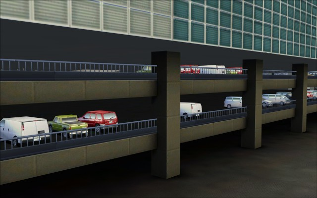 Vehicles parked on lower levels of parking garages