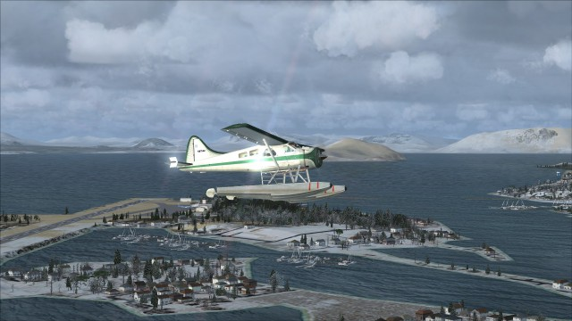 "Beaver over Sitka. The graphics fixes have made the default sim look quite a bit better ""out of the box""."