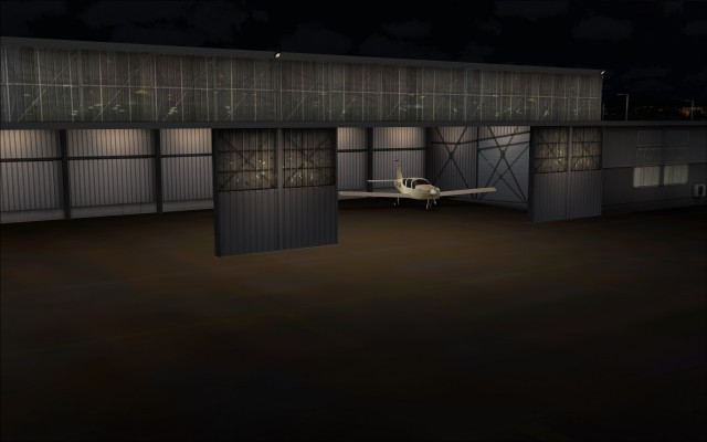 Hangar interior lit up
