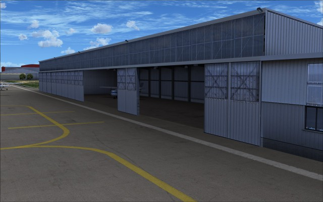 Large hangar with open doors