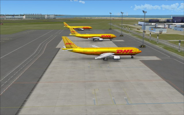 Static aircraft near DHL building
