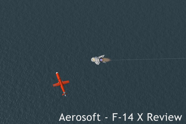 The other end of the picture. Using a Phoenix to shoot down a Tacpack-spawned drone. The missile was launched 70nm away from the target that was moving away at 500kts at 25000ft. As you can see, no problem for the AIM54.