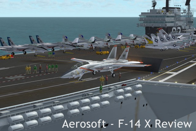 About to launch from the deck of U.S.S. Kitty Hawk in FSX.