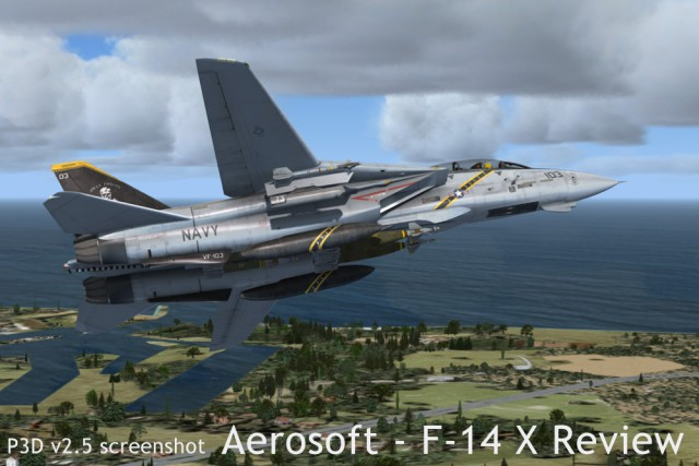 A screenshot of the F-14B's exterior in P3D v2.5, armed for a bombing mission.
