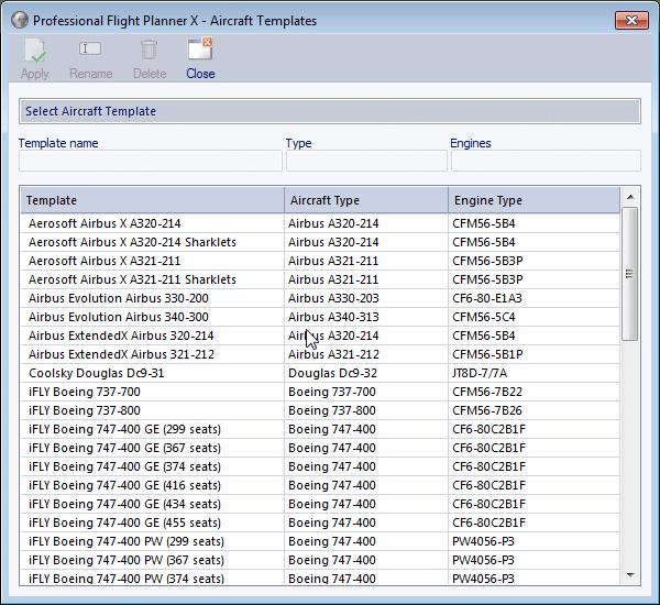 aircraft templates