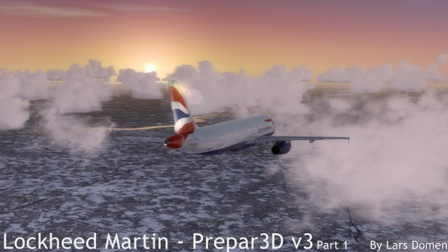 Descending. Note once again the dramatic colours. Also take a look at how default P3D clouds and scenery looks.