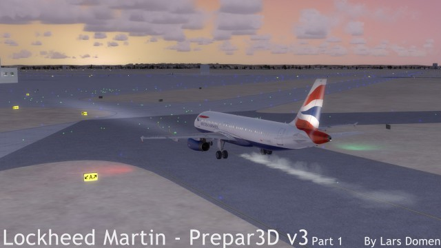 Taxiing to the gate. Note that that silly single 'propwash' effect is still there even on multi engined aircraft.