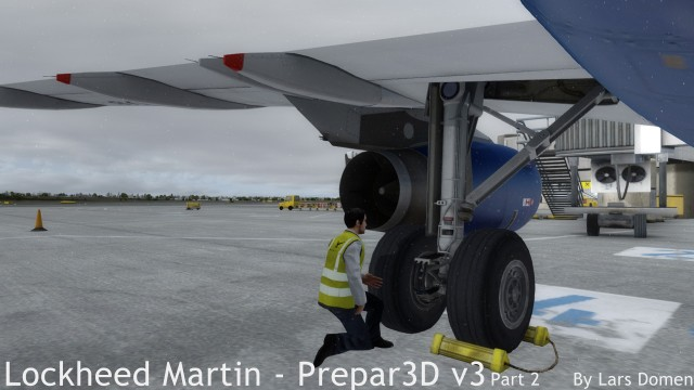 The Aerosoft Airbusses include an Avator model in high-viz jacket. Here, the pilot is inspecting the landing gear.
