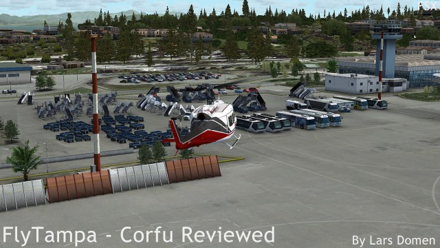 One of the few FSX screenshots in this review, showcasing the 'normal' trees, and some of the airport clutter.