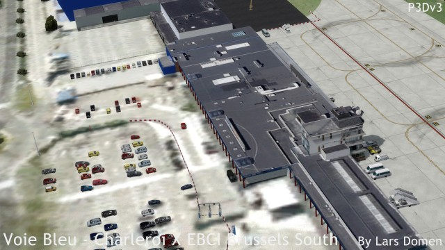 A top-down view that shows many different aspects of this scenery: the photoreal ground layer, the buildings with photoreal textures, the very high-resolution apron, and some of the many static cars.