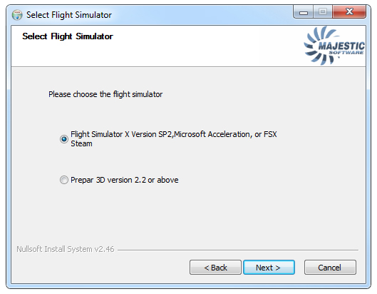 """The """"Select a Flight Simulator"""" page of the installer (v1.018). Note that as of v1.018c, P3Dv3 is also natively supported."""