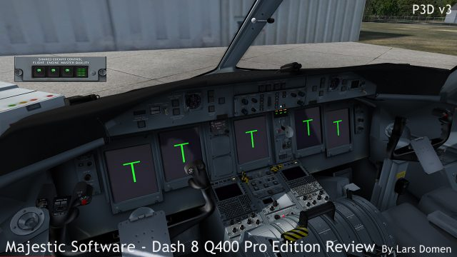 The Shared Cockpit Control panel popup, denoting the system is connected with perfect quality, and the current PC is master for both flight controls and engine controls.