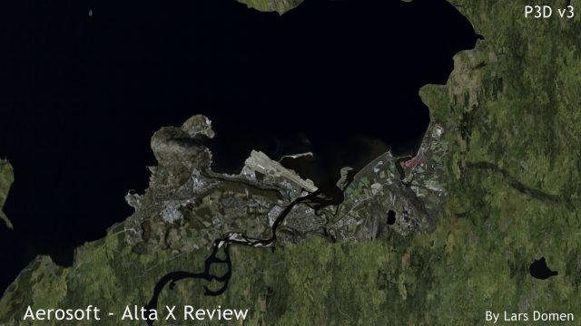 This top down screenshot shows quite clearly how extensive the coverage area included with Alta X is. The terrain textures outside the coverage area are from FTX Global
