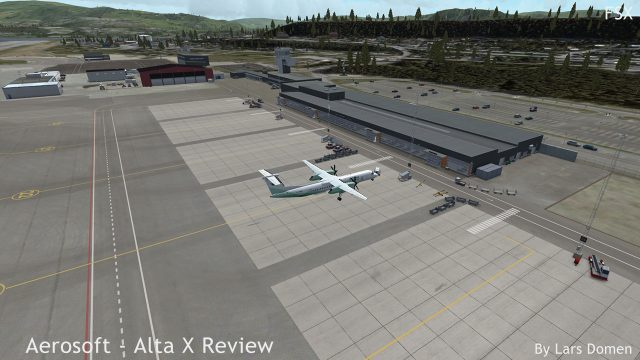 Hard to show in a static shot, but there is movement at Alta. That airport tractor with 4 empty baggage carts, for example, drives a realistic route over the apron. There are also several 3D people moving around the airport.