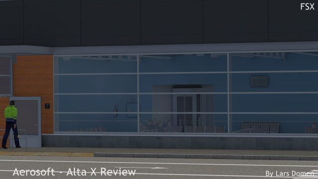 A closeup of the 3D interior of the terminal. Also note the guy in the high-viz jacket, walking around...