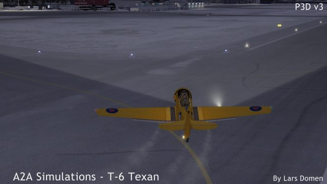 The T-6 is not the easiest to handle on the ground, but it feels quite realistic to me. Just beware of ground loops when landing in crosswinds. Also note the 'default' option landing light in this shot.