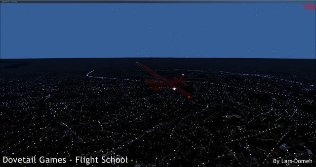 Shot taken at 10 o'clock at night, sim time. The sky does get darker (to pitch black) later at night, but still, this doesn't look quite right. Especially how the horizon stands out.