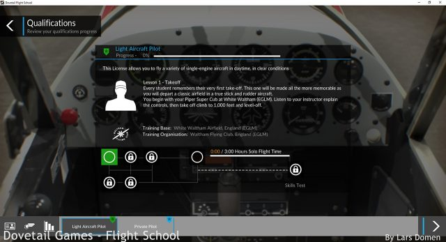 The 'Pilot Qualifications' screen, before starting the first lesson.