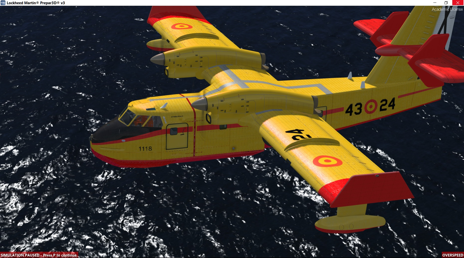 The famous tanker CL-415 is actually working and flying in P3D4. The model  of Roland Laborie can be filled of water to fight the fires over forests.